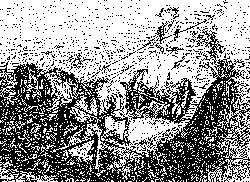 Landmaschine mit Pferden